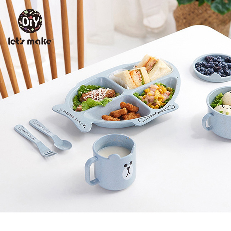 Let's Make Children's Tableware Bamboo Fork& Spoon & Plate Baby Dinnerware Set Cartoon Rabbit Airplane Food Bowl Learning Dishes image