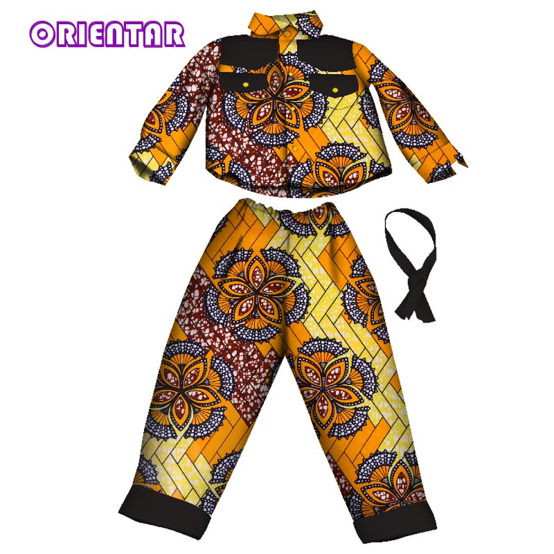 2 Pieces Sets Boy Kids African Print Suit Tops And Pants African Children Long Sleeve Shirt Pants Set Bazin Riche Clothes WYT195
