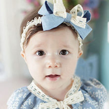 Sweet Girl Head Accessories Hairband Baby Bowknot Lace Headwear White lace blue sewed elastic band children's hair band(China)