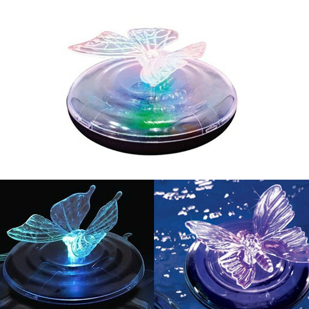 Pool LED Butterfly Fountain Waterproof Water Drift Night Party Solar Light Floating Outdoor Pond Garden Decor Portable Landscape