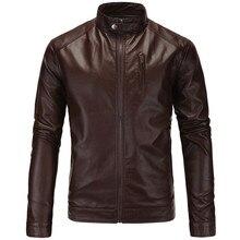 Jacket Coat Motorcycle Brown Vintage Winter Genuine-Leather Slim Zipper for Fashion Autumn