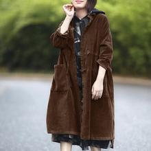 Women Outerwear Coats Vintage Corduroy Jacket Female Winter