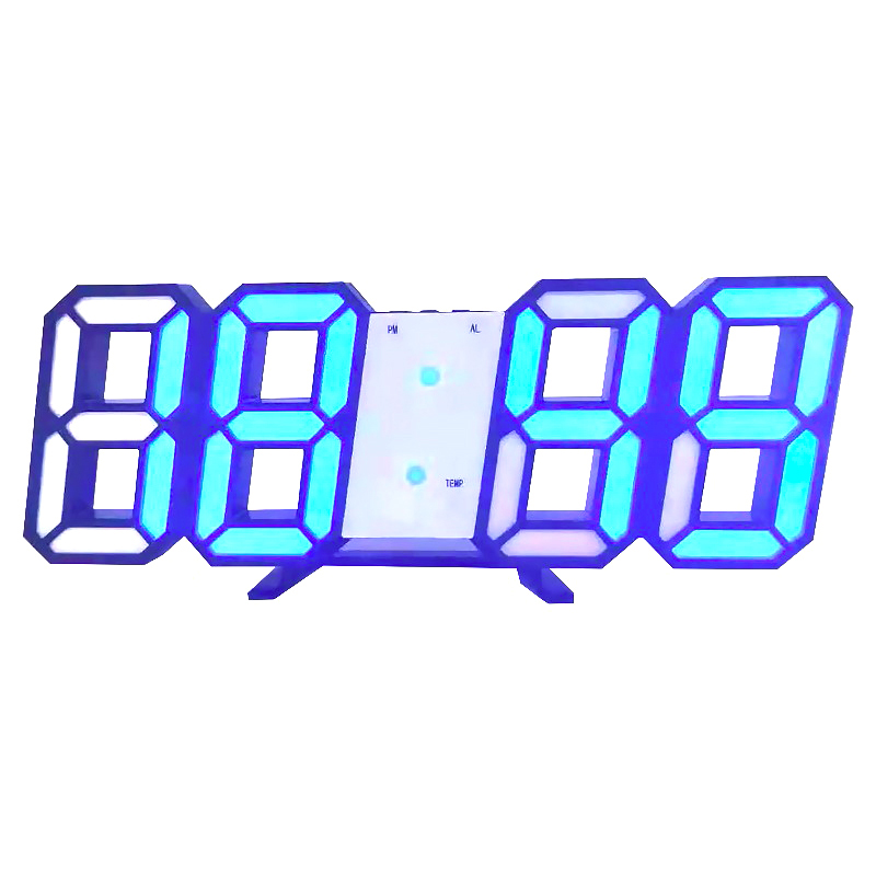 LED Clock Without Battery Large Digital Wall Desk Snooze Alarm Modern 3D 12/24 Hour Display Multi-function image