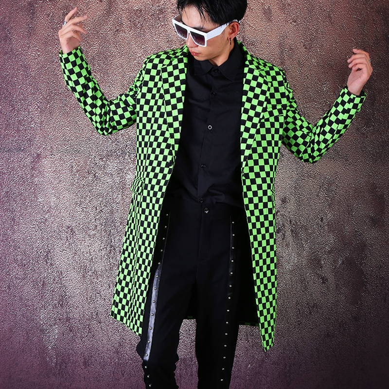 Men's New Plaid Print Suit Long Blazer Coat Male Singer Night Club Tide Hairdresser Suits Jackets Men Personality Stage Costume