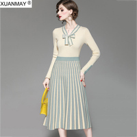 2019 Autumn Knitted Sweater and Short Skirt up and down Two piece Office Girl Dress Long sleeved Pullover top Skirt Suit coat