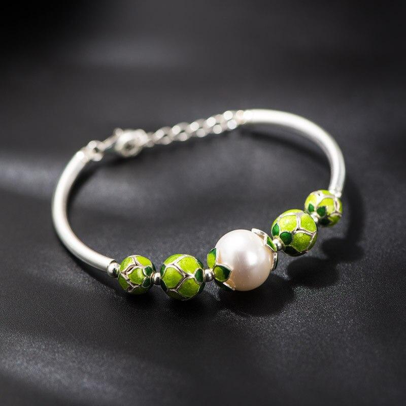 Bracelet en argent Starfield 925 bijoux artisanaux bleu cloisonné petites perles incrustées Bracelet en perles d'eau douce naturelles