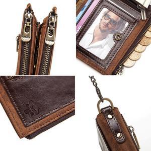 Image 5 - GZCZ 100% אמיתי עור Rfid ארנק גברים מטבע ארנק קצר זכר כסף תיק שרשרת Portomonee זכר ארנק כיס משלוח לחרוט