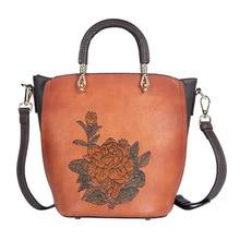 2020 new handbag female retro national style leather handbag one shoulder portable messenger bag first layer cowhide bucket bag цена 2017
