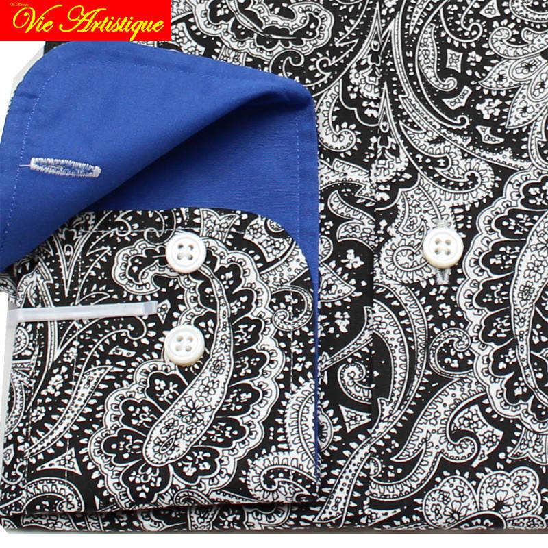 Sur mesure Pour Hommes sur mesure chemises florale coton formel d'affaires de mariage articles chemisier gris paisley fleur mode david - 3