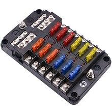 퓨즈 박스 홀더 12V 32V 플라스틱 커버 퓨즈 박스 컨테이너 M5 스터드 LED 표시 등 6 가지 방법 12 가지 방법 자동차 자동차 보트 용 블레이드
