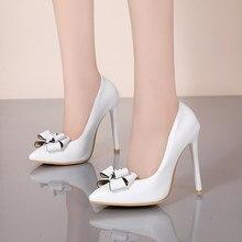 Yihongmeiqi saltos altos sólidos 11 cm duro prom feminino arco toe profissional único sapatos vermelho preto 32-47