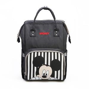 Image 2 - Disney bebê fralda mochila mães saco de enfermagem do bebê mãe maternidade fralda mudando saco viagem carrinho aquecimento usb mickey series