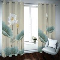 Cortinas blackout cortinas fresco lotus cortinas para sala de estar quarto 3d impressão digital cortina