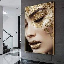 Affiche en toile d'art moderne, femme dorée, peinture à l'huile, image murale pour salon, décoration murale sans cadre