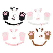 цена на Cute Cat Cosplay Costume Adult Kids Funny Party Drees Up Headband Gloves Kitten Tail Ear Collar Paws Gloves Anime Lolita Set