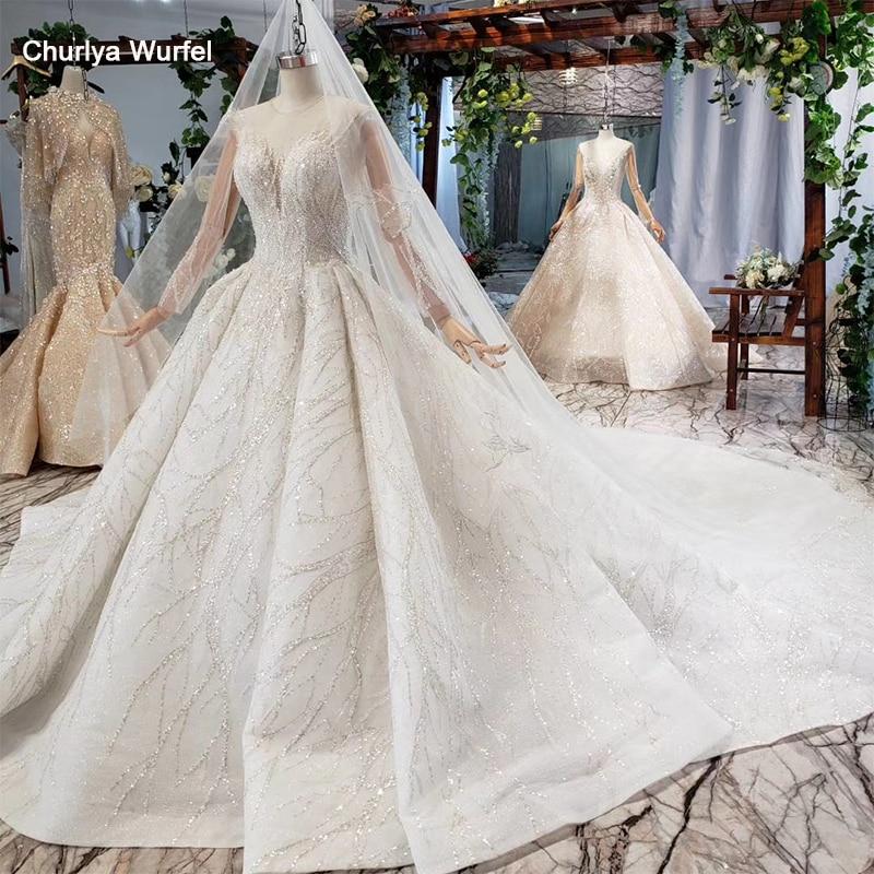 HTL736 Bohemian Wedding Dress With Veil O-neck Ball Gown Long Sleeve Bridal Dress Wedding Gown With Train свадебное платье 2020