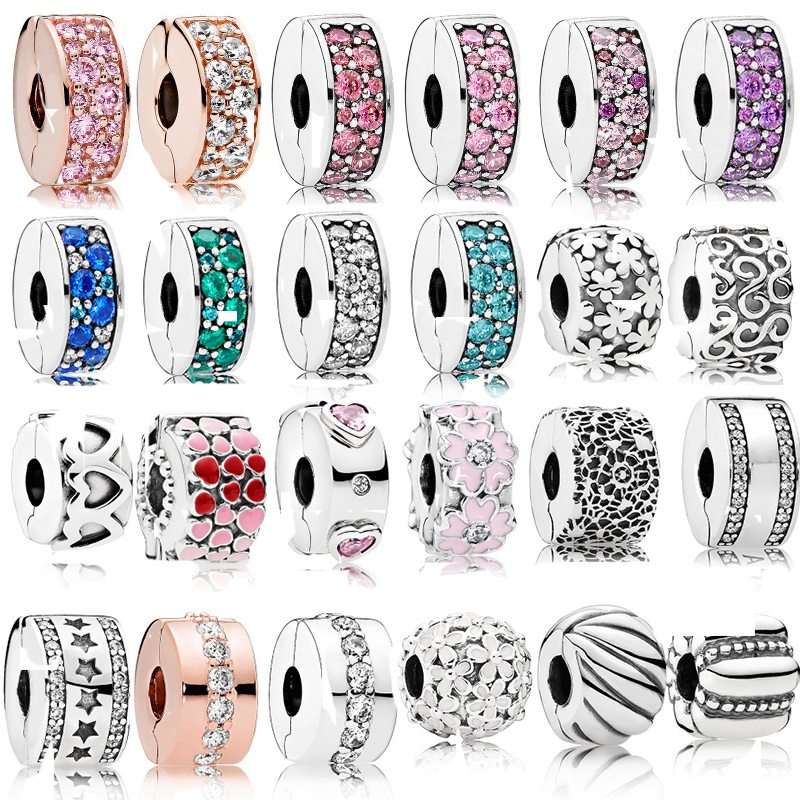 Real 925 Sterling Silver Stopper Charms Swirl Clip Beads Polished Feathered Clip Fit Pandora Original Charm Bracelets DIY Gift(China)