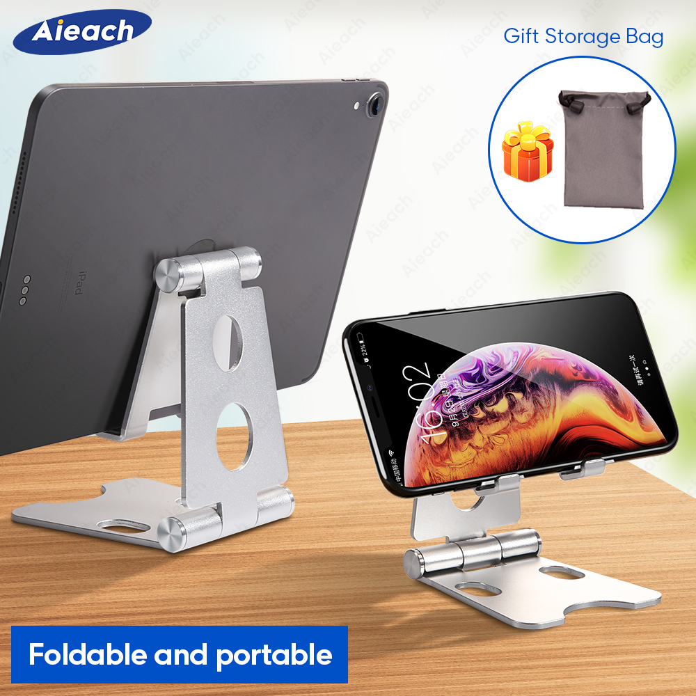 Aieach Aluminium Adjustable Fold Holder Tablet Stand For IPad Samsung Xiaomi Tablet Desktop Holder For IPad Soporte Tablet Stand