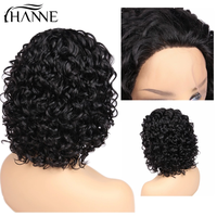 HANNE Hair Short Curly Swiss Lace Front Human Hair Wigs For Black Women Brazilian Hair Bob Wig Remy Hair Wigs Free Shipping