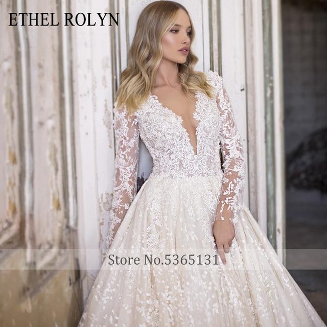 ETHEL ROLYN A-Line Lace Wedding Dress 2021 Romantic V-neck Long Sleeve Beading Appliques Bride Dresses Princess Bridal Gowns 4