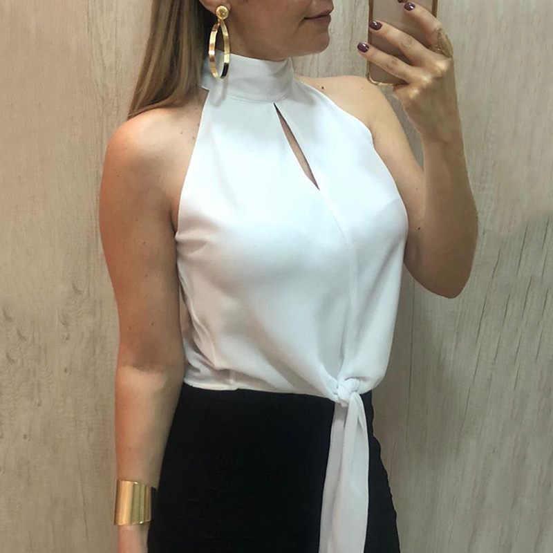 Grande taille Sexy bureau dames chemises blanc col roulé hors de l'épaule femmes hauts et chemisiers évider nœud papillon Blusas femme