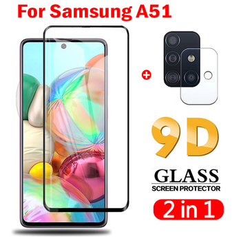 2 In 1 on For Samsung Galaxy A51 Camera Lens Film 9D Screen Protector Protective Tempered Glass on Samsung A51 glass