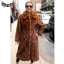 2019 Winter Fashion Real Mink Fur Coat For Women Natural Full Pelt Mink Fur Jacket Long With Lapel Collar Warm Fur Coats Outwear цена 2017