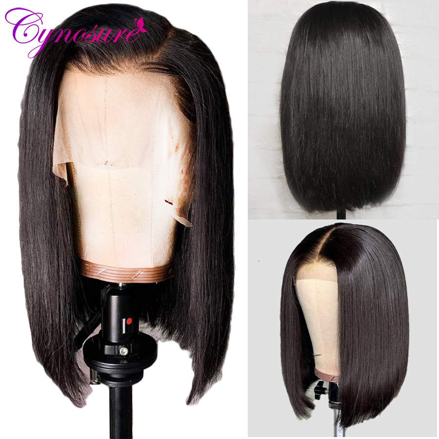 Cynosure 13X5 Short Bob Lace Front Human Hair Wigs For Black Women Remy Brazilian Straight Lace Frontal Wigs Natural Color