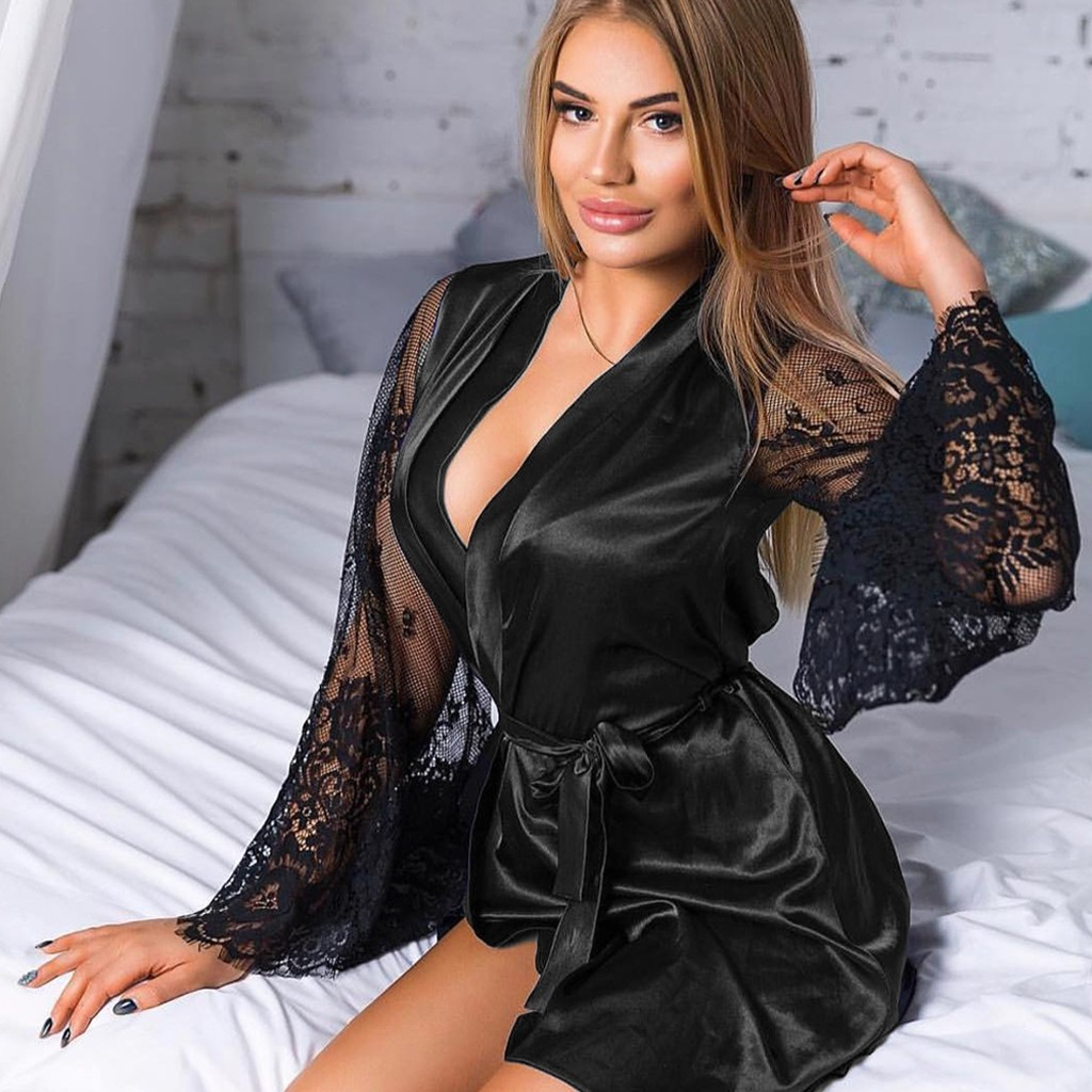 Women Sexy Lingerie Lace Satin Mini Robe Nightwear Bathrobe Plus Size M To XXXL Under 29 Dollars U.S.Stock Free Shipping From USA