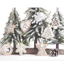 Wooden-Decorations Pendants Xmas-Decor Christmas-Ornaments Hanging Gift Natural-Wood
