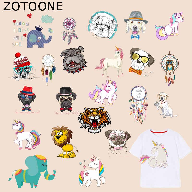 ZOTOONE Animale Unicorno Toppe e Stemmi Cane Dreamcatcher Adesivi Ferro sui Vestiti di Trasferimento di Calore Fai Da Te Applique Ricamato del Panno del Tessuto G