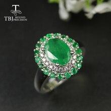 Tbj, natuurlijke Zambia Emerald Ringen Oval 7*9 Mm Edelsteen Match Earrining Engagement Ring 925 Sterling Zilveren Edelsteen Sieraden Vrouwen