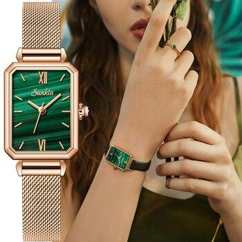 Часы наручные SUNKTA женские, брендовые Роскошные Модные прямоугольные маленькие зеленые ультратонкие водонепроницаемые кварцевые наручные часы