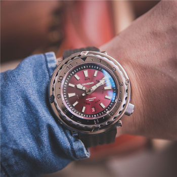 цена Proxima Red Dial Men's Automatic Diver Watch Tuna Ceramic Bezel Sapphire Mechanical Wristwatches Luxury Diving Men Sports Clock онлайн в 2017 году