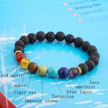 Pedra de lava natural contas cura equilíbrio chakra charme pulseira 8mm tigre olho grânulo buda tibetano oração pulseira para mulher