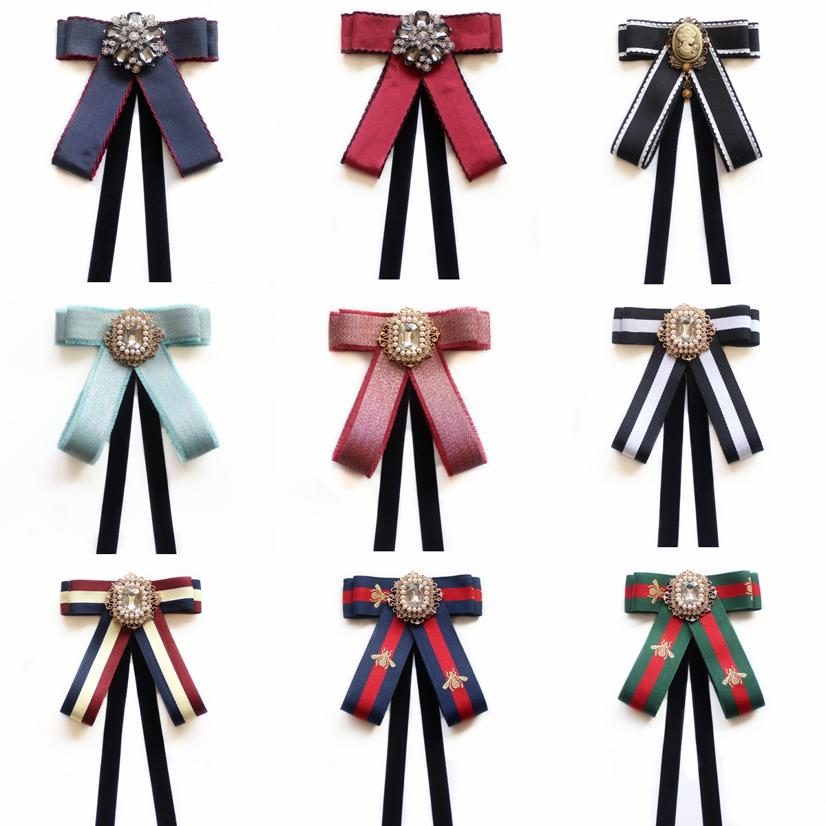 Korean Vintage Big Fabric Bow Tie Brooches For Girl Women Fashion Stripe Cloth Shirt Corsage Neck Tie Wedding Party Accessories