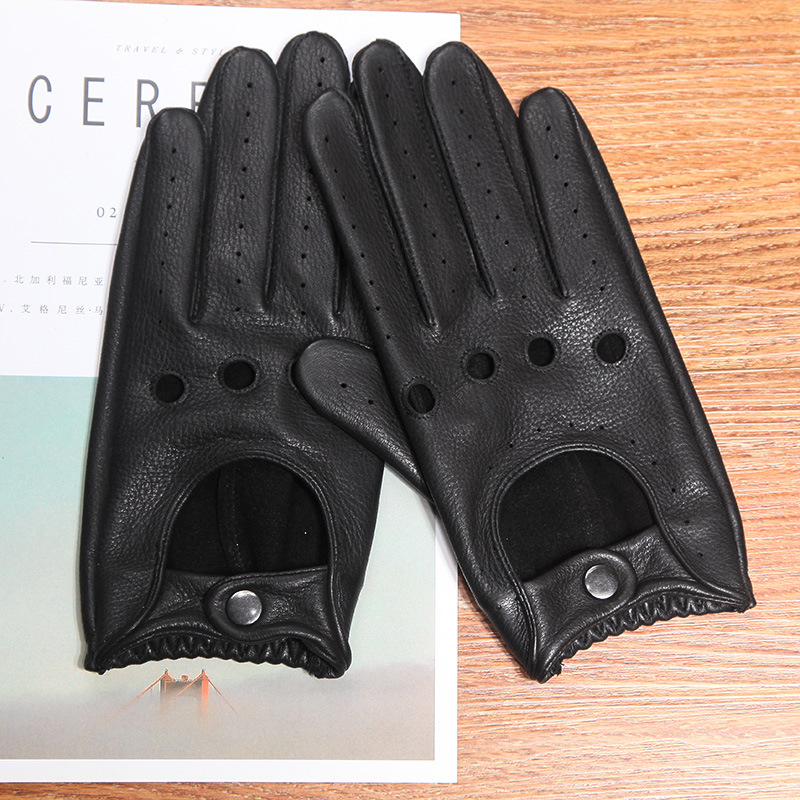 Free Shipping Genuine Leather Men's Gloves Anti-Slip Driving Breathable Fitness High Quality Real Deerskin Gloves Male D0131-2M