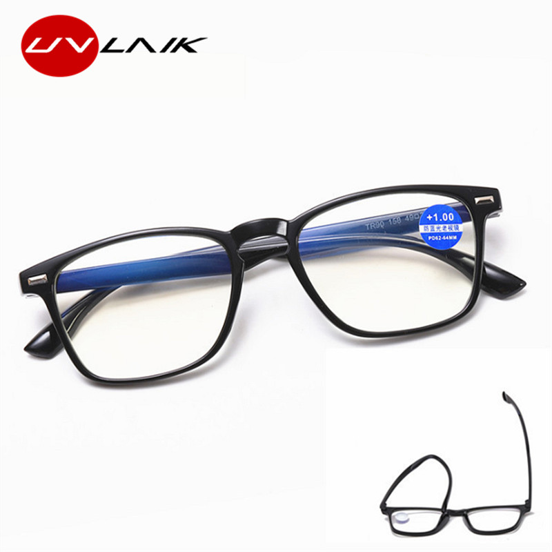 UVLAIK Women Anti Blue Light Reading Glasses Men Clear Computer Eyeglasses Retro Presbyopia Eyewear Diopter Glasses 1.0 1.5 2.0