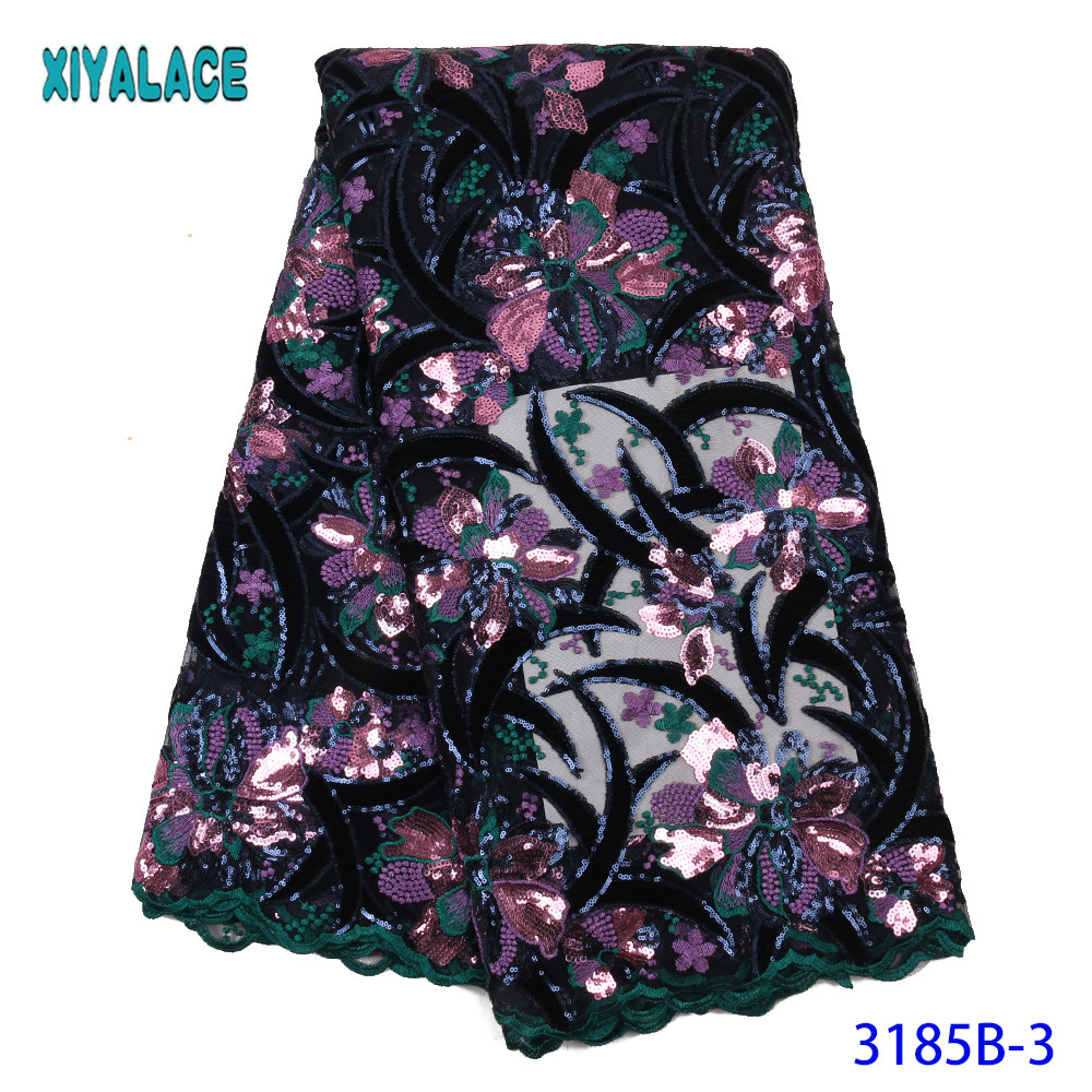 High Quality French Lace Fabric 2020 Velvet Lace Fabric Embroidery Nigerian Lace Fabric Colorful Sequins KS3185B