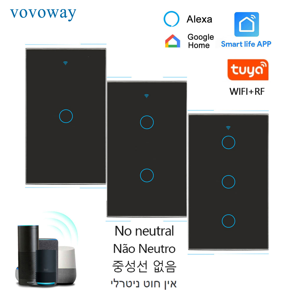 WIFI light switch touch control APP smart remote control US standard no neutral wire installation AC110V-240V Wall touch switch