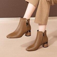 Women Boots Winter Short High-Heeled Metal-Decoration Autumn Plus 6cm Ankle Velvet And