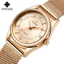 Часы наручные женские из розового золота кварцевые со стразами