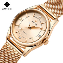 2020 Montre Femme Ladies Watches WWOOR Top Luxury Rose Gold Diamond Quartz Wrist Watch Women Dress Bracelet Watch relojes mujer