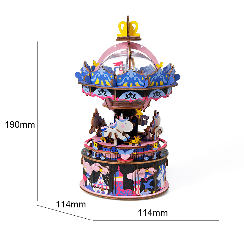 Robotime Stem Toys 3D Wooden Puzzle Music Box for gifts