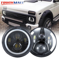 1pcs DOT EMARK 7inch LED Headlights with Halo Ring Turn Signal Light Headlamp For Jeep Wrangler Lada Niva Land Rover Defender