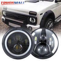 DOT EMARK 7inch LED Scheinwerfer mit Halo Ring Blinker Licht Scheinwerfer Für Jeep Wrangler Lada Niva Land Rover defender Hummer