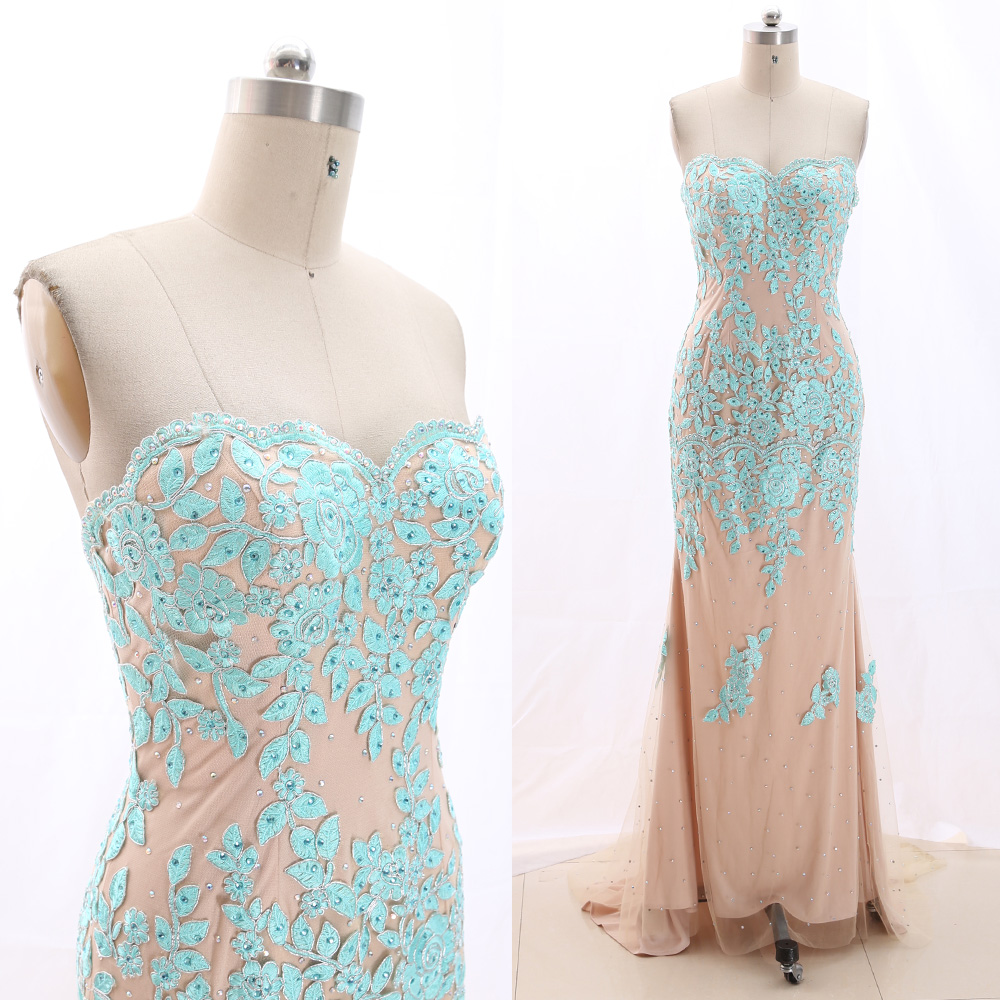 MACloth Sky Blue Strapless Floor-Length Long Crystal Tulle   Prom     Dresses     Dress   M 266483 Clearance