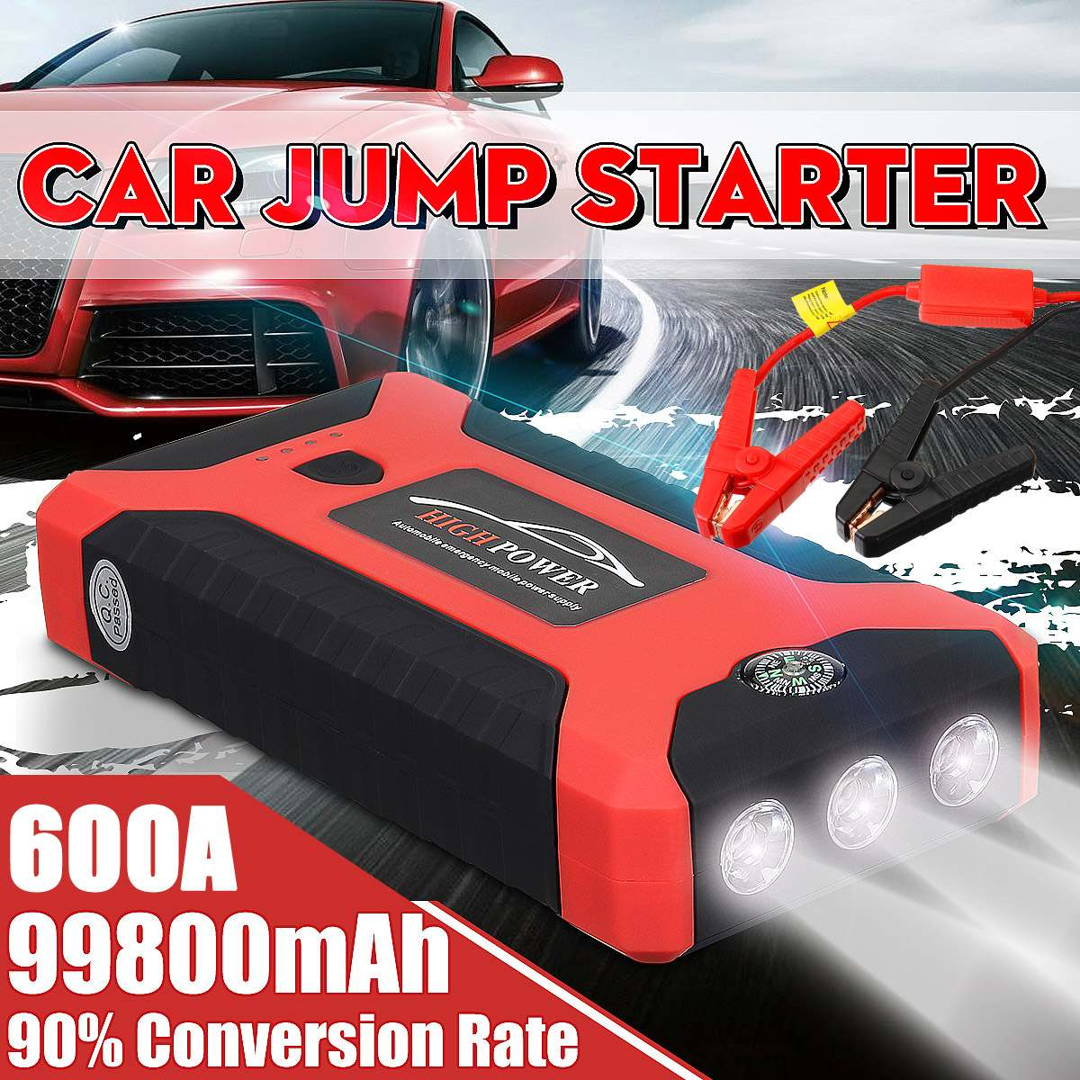 Jump Starter Charger Car-Battery-Booster Multifunction 4 usb-Power-Bank Portable Lighter title=