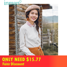 INMAN Winter Cotton Contrast Color Turn Down Collar Loose Style Women Causal Blouse недорого