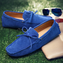 WEH loafers men shoes casual suede leather Genuine Men Summer Shoes Classic Mens Elegantes Slip On Driving Shoes Plus size 11 13
